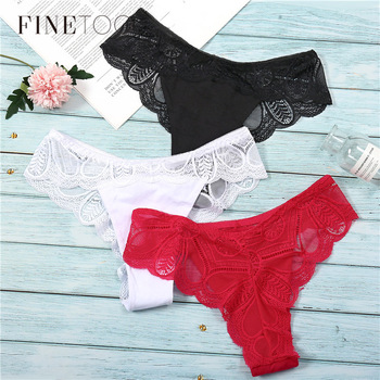 3Pcs Panties Sexy G-String Underwear Lace Briefs For Women Fashion Floral Panty Female Lingerie Low-Rise Brief Ladies Thong L XL 1