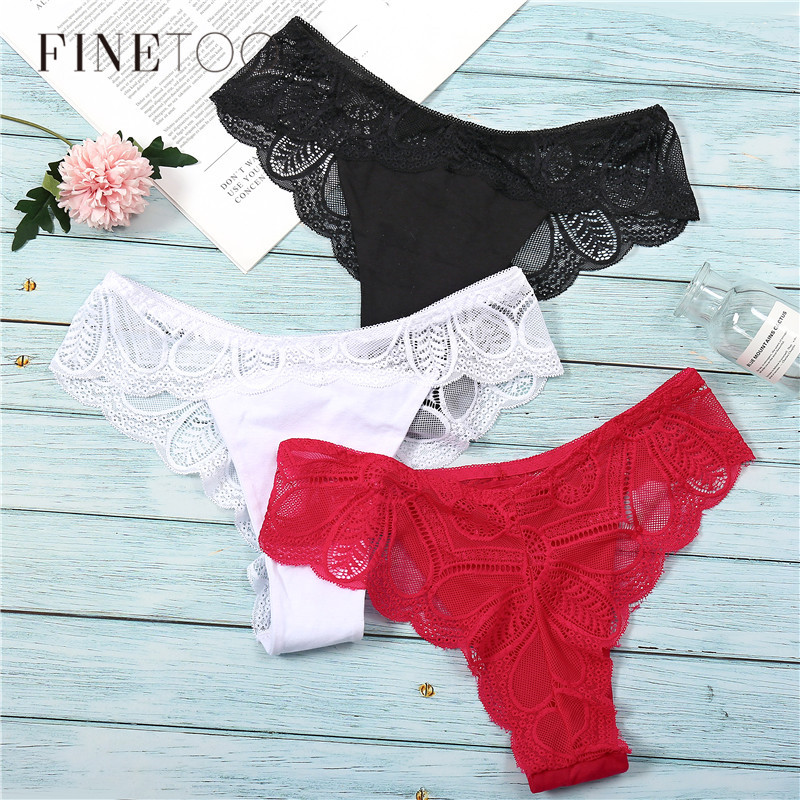 3Pcs Panties Sexy G-String Underwear Lace Briefs For Women Fashion Floral Panty Female Lingerie Low-Rise Brief Ladies Thong L XL