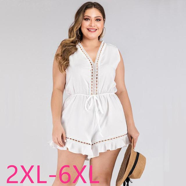 2020 fashion summer plus size jumpsuit for women large sleeveless loose casual V neck short jumpsuits belt white 3XL 4XL 5XL 6XL