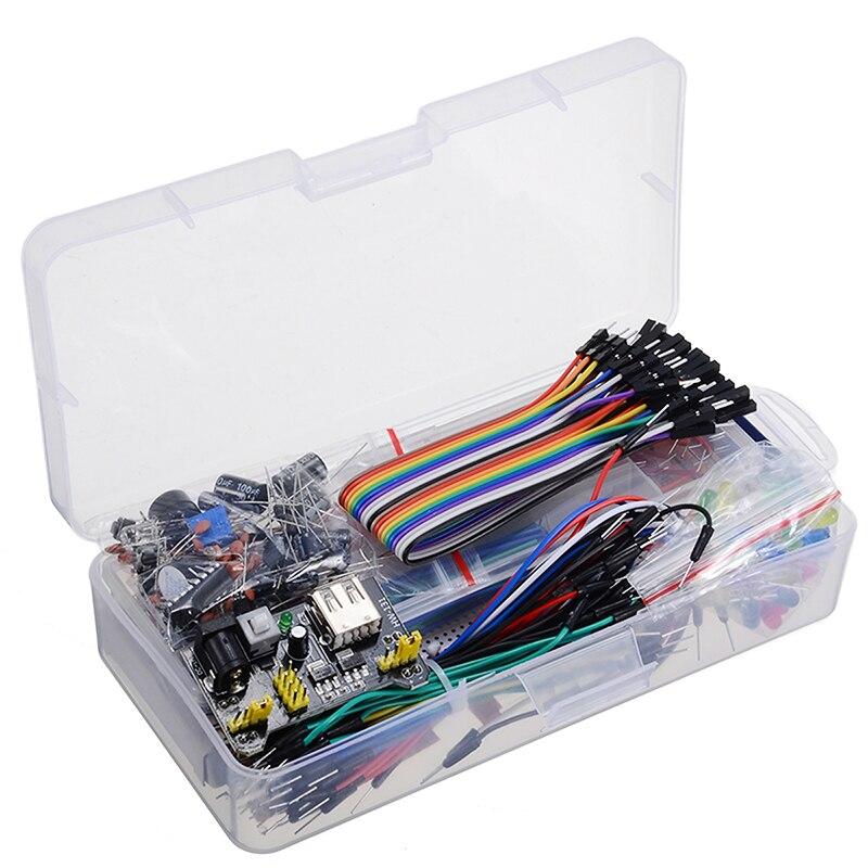 , Composant électronique, Kit de démarreur de base avec platine de prototypage, potentiomètre de câble de résistance, condensateur pour Arduino
