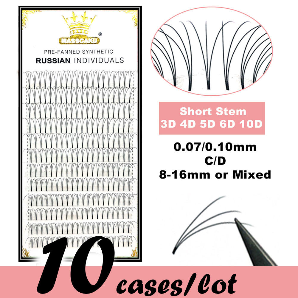 MAS 10 Trays Premade Wide Fans 3d/4d/5d/6d/10d Short Stem Russian Volume Eyelash Extensions Natural Pre Made Lash Extension