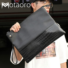 New Fashion Day Clutches Masculina Male Envelope Bag Alligator Crocodile Leather Business Men Clutch Bags Bolso Hombre Sac Homme
