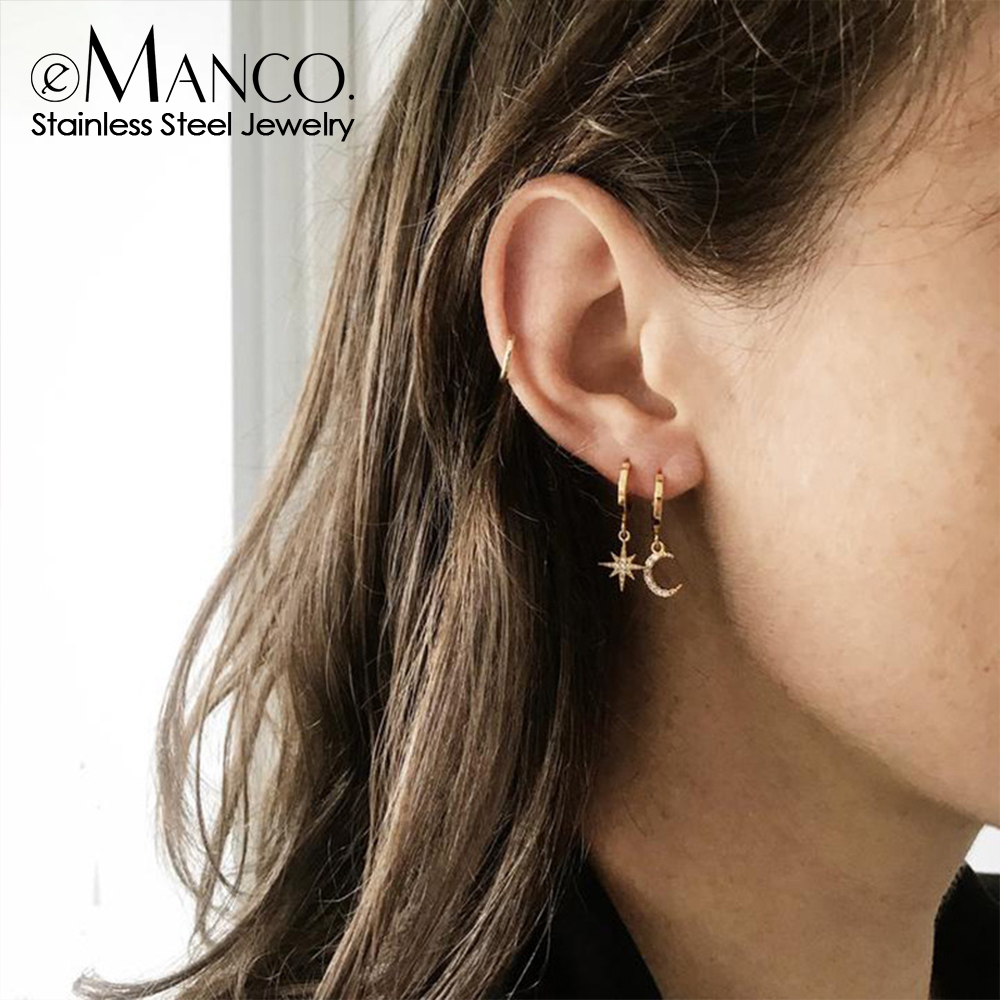 eManco Stainless Steel Hoop Earrings for women Aesthetic Star Moon Hanging Earring Dangle Earring Fashion Jewelry 2020 wholesale