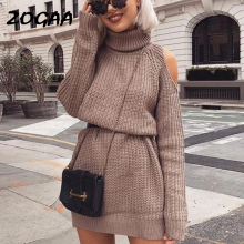 ZOGAA 2019 Autumn Winter Turtleneck Off Shoulder Knitted Sweater Dress Women Solid Slim Plus Size Long Pullovers Knitting Jumper недорого