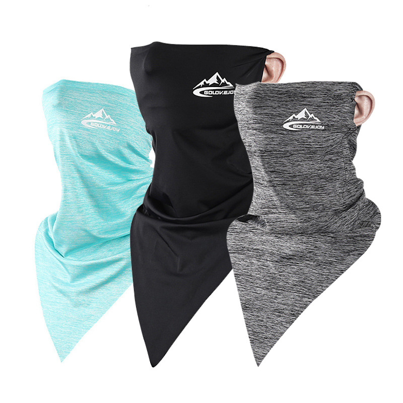 UPF50+ Triangle Scarf Cooling Traceless Half Face Mask Men Women Face Shield Bandanas for Summer Outdoor Sport Cycling Hiking 1