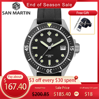San Martin Diver-Reloj de acero inoxidable NH35A para hombre, automático, mecánico, correa de goma de cristal de zafiro, luminoso, resistente al agua, 200M