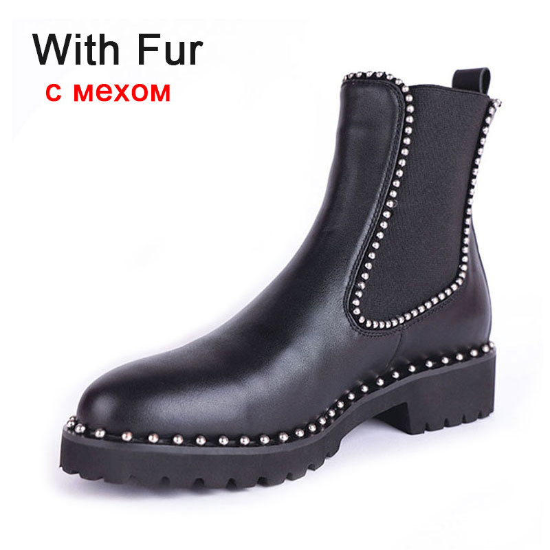 Taoffen British Style Ankle Boots Women Genuine Leather Elastic Band Flats Shoes Rivets Round Toe Women Footwear Size 33-43 5