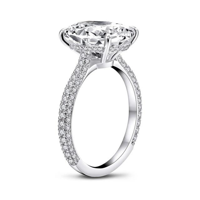 Фото роскошное 5 карат овальное кольцо для помолвки женщин из стерлингового цена