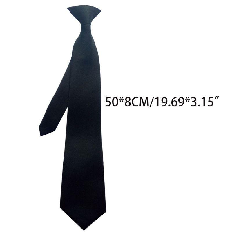 50x8cm Mens Uniform Solid Black Color Imitation Silk Clip-On Pre-Tied Neck Ties For Police Security Wedding Funeral 50PF
