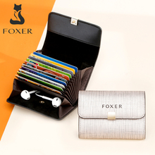 FOXER Brand Womens ID Case Mini Wallet Business Card Holder Female Purse Coin Packet Lady Mini Large Capacity Card Slot