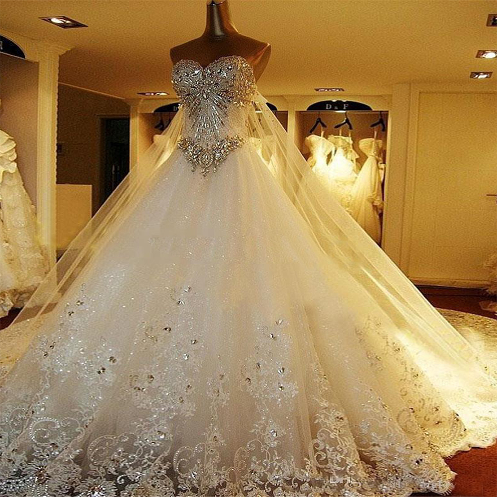 Wedding Dresses Clothing Shoes Accessories Luxury Crystals Beading Princess Ball Gown Wedding Dress Sweetheart Bridal Gowns Myself Co Ls