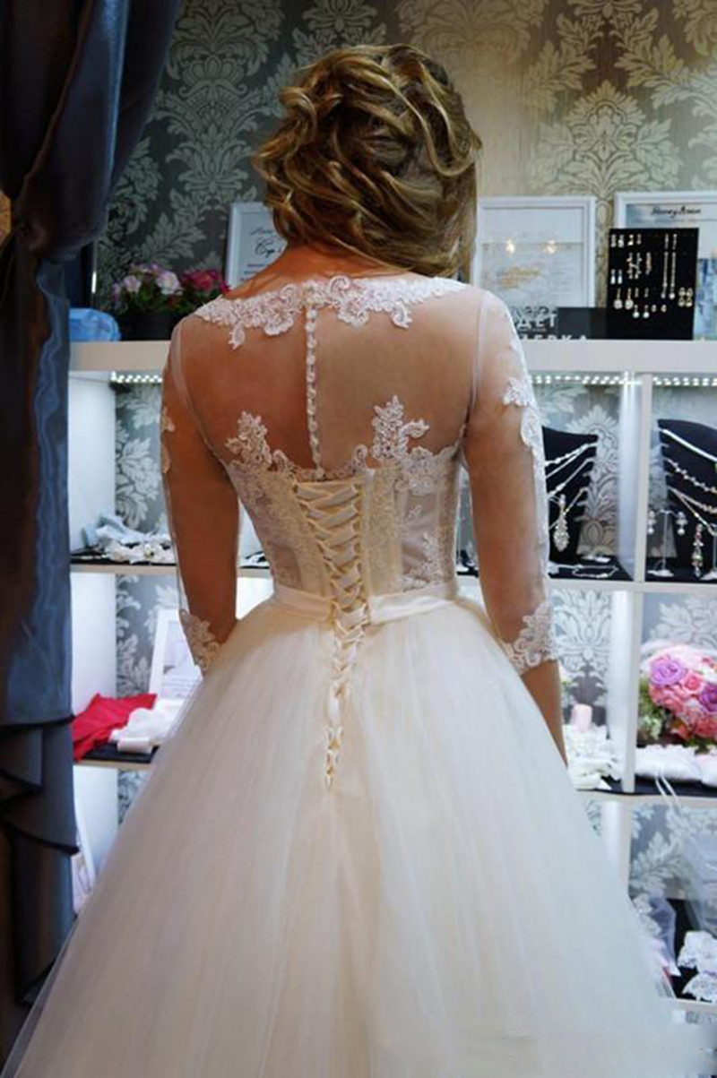 2020 Lace Ball Gown Wedding Dresses Jewel Half Sleeve Sweep Train Bridal Gowns With Bow Applique Plus Size Bridal Dress Wedding Dresses Aliexpress,Dress To Wear To A Wedding In November