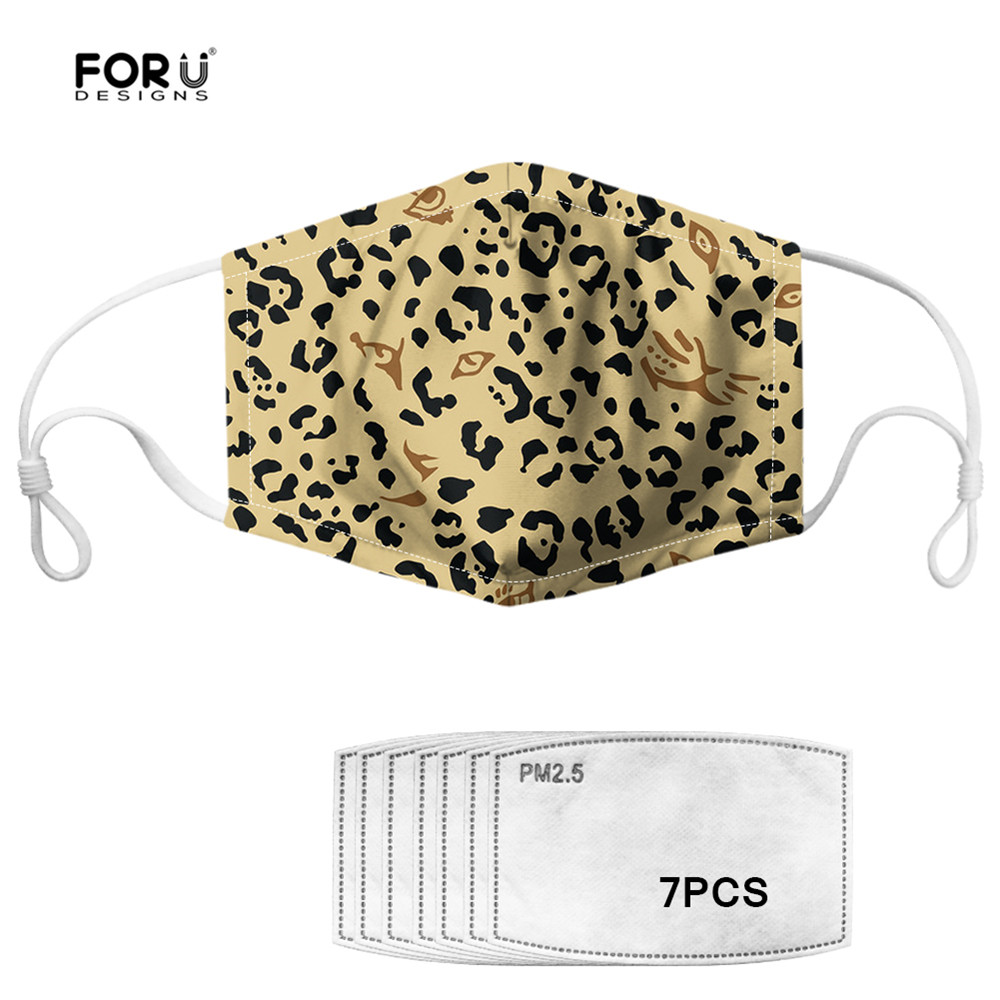 FORUDESIGNS Leopard 3D Printed Fashion Women&Men Mouth Mask Anti Dust Mask Activated Carbon 7 Filter Windproof Mouth Cover Masks