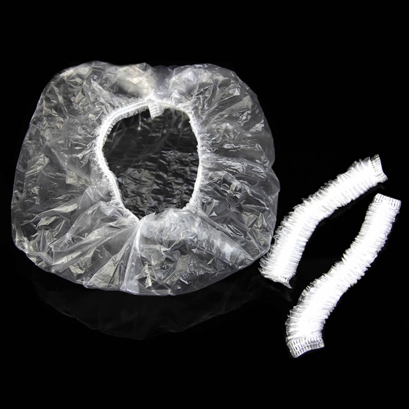 100pcs Disposable One-off Hotel Home Shower Bathing Clear Hair Elastic Cap Hats