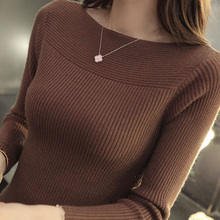 Women's pullover sweater sweater fashion new slim bottoming shirt pullover sweater thread tight pullover sweater women sweater funk since 1776 sweater