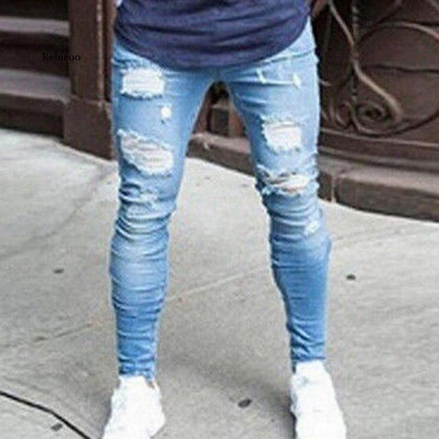 2021 New Fashion Streetwear Mens Jeans Destroyed Ripped Design Pencil Pants Ankle Skinny Men Full Length Jeans 1