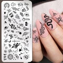 Nicole diário cobra leopardo prego placas de carimbo linhas geométricas folhas flores design imagem placas de impressão stencil selo ferramentas