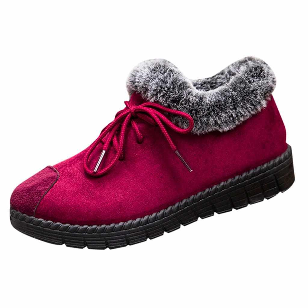 ผู้หญิงรองเท้าข้อเท้ารองเท้าผ้าฝ้าย Plus กำมะหยี่หนาอุ่นเดินป่า Snow รองเท้าสบายๆสีตื้นรองเท้า chaussures
