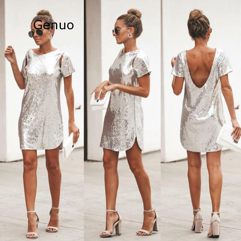 Summer Sequined Vintage Dress Women O-neck Dress Short Sleeve Shining Dress Club Party Fashion Female Vestidos Party Dresses