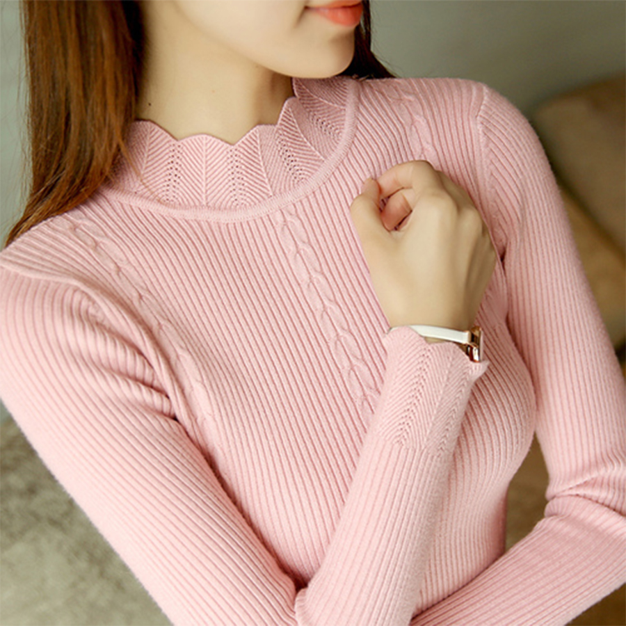 Sweet Ruffles Slim Sweater Women Autumn Winter Casual Solid Bottoming Knitted Pullovers Female Fashion Big Size Pullover Sweater