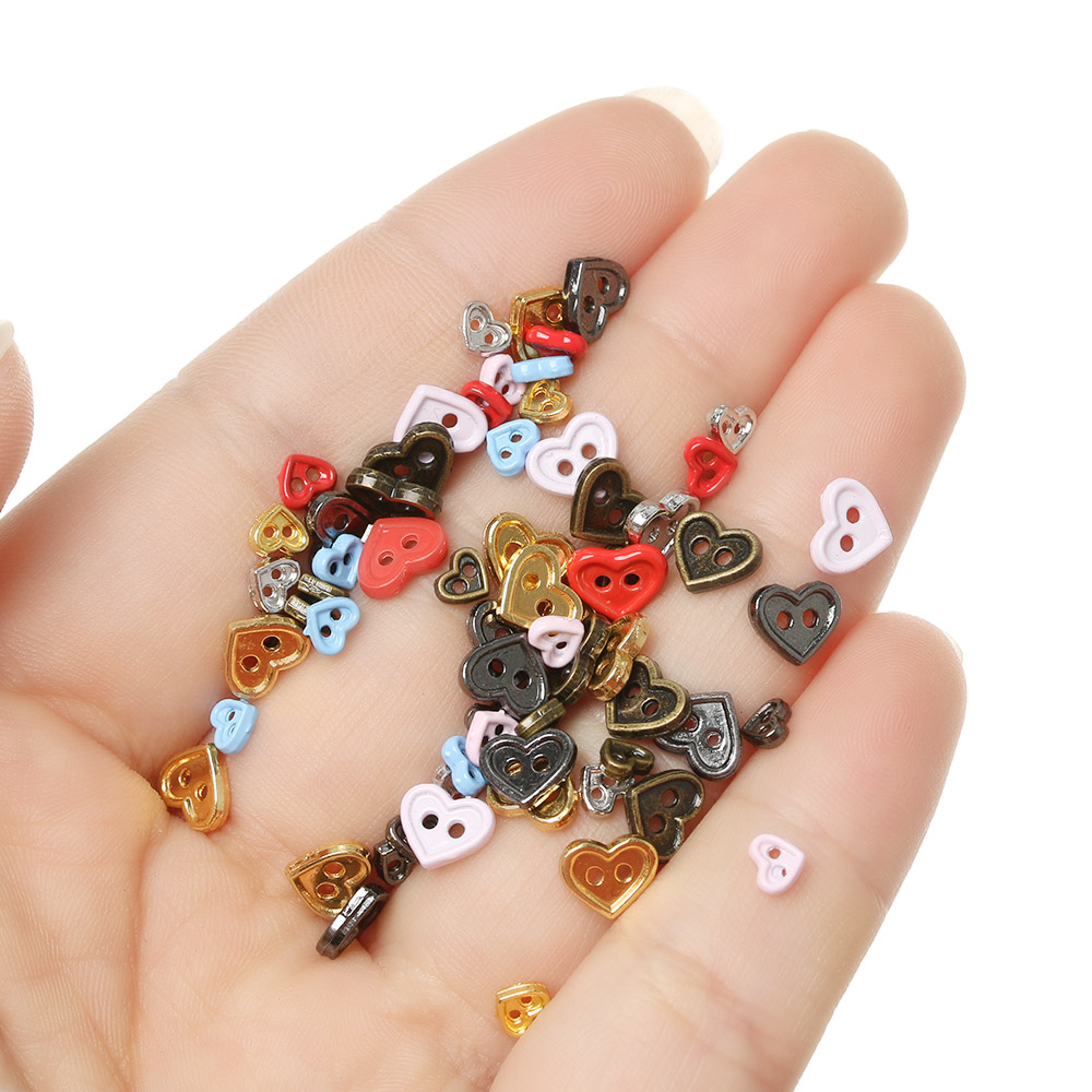 20/40Pcs 4.5mm/7mm Mini Metal Buttons For DIY Doll Clothes Handmade Making Doll Clothing Accessories Candy Color Heart Buckles