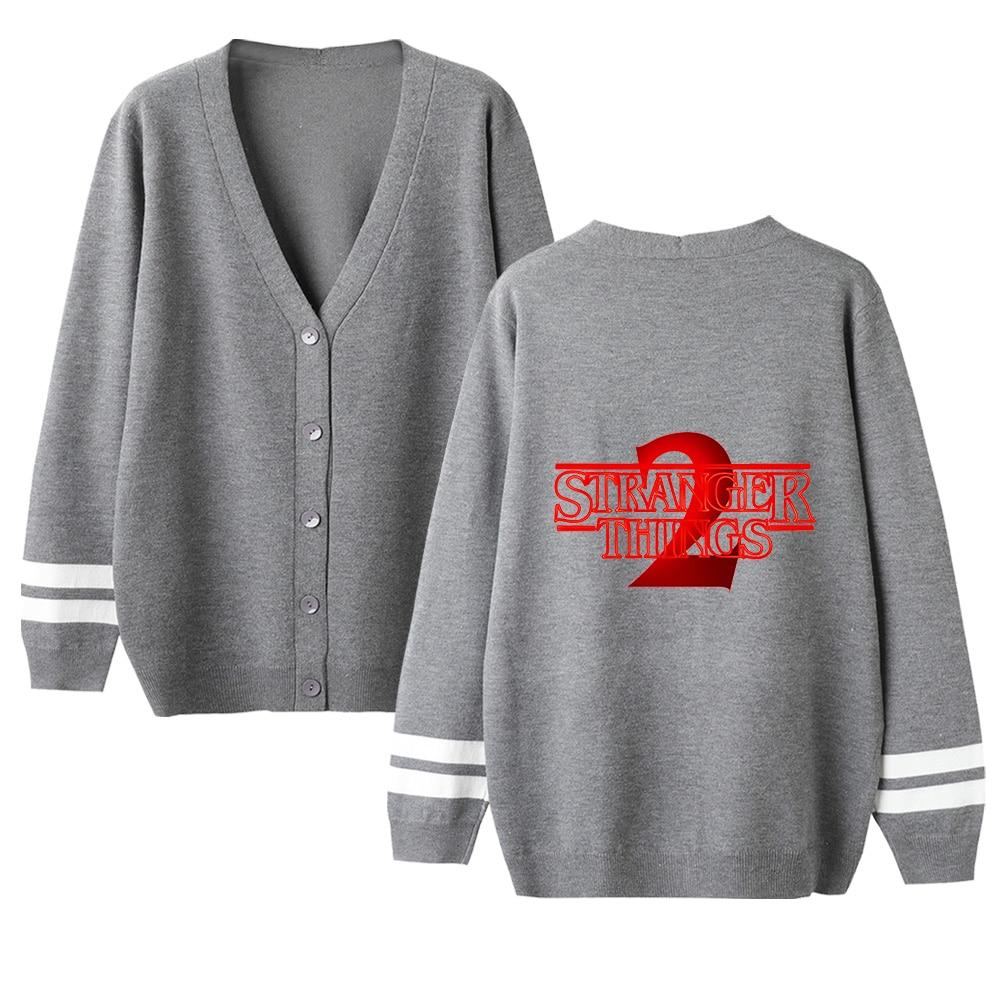 New Kid's Cool Stranger Things Cardigan Sweater Men/women V-neck Children Sweater Stranger Things Sweater Black Casual Top