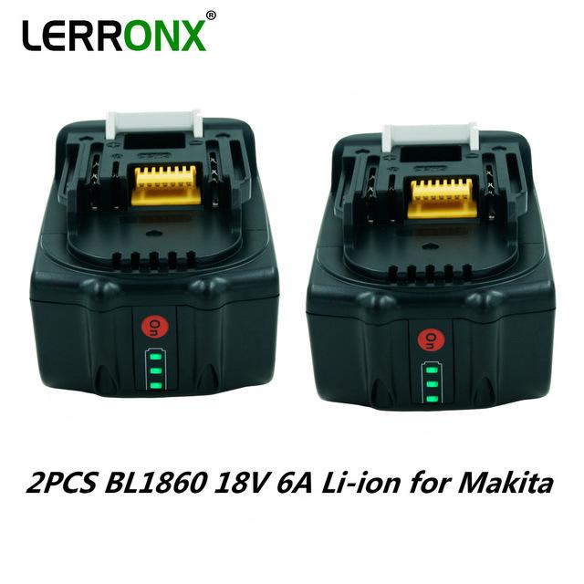 2 sztuk BL1860 BL1850 18V 6A akumulator litowo-jonowy akumulatorki zamienne do Makita LXT400 BL1840 BL1830 bateria litowo-jonowa tanie i dobre opinie LERRONX 6000mA Li-ion Baterie Tylko 1PCS Pryzmatyczny Pakiet 1 6000mAh 6 0Ah Cordless Power Tool Batter 194204-5 194205-3 194309-1 194230-4 BL1815