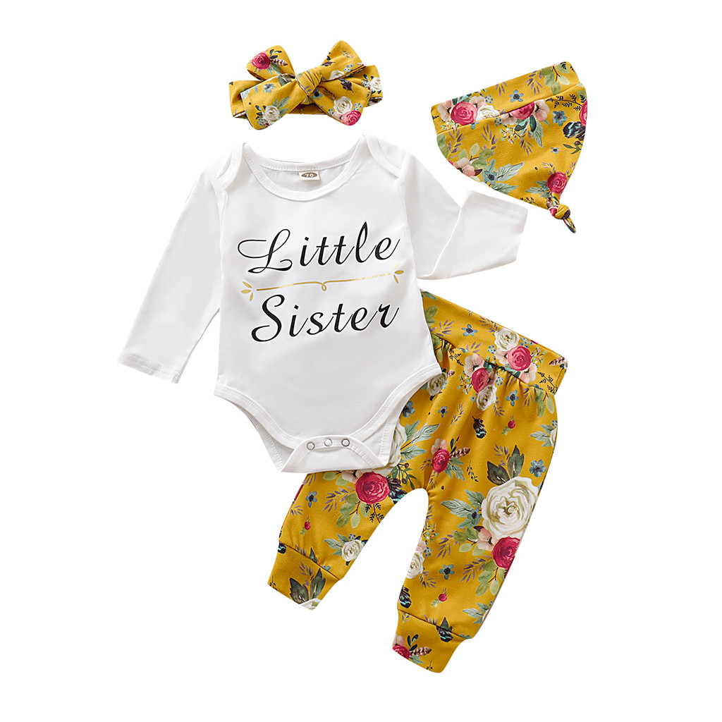 Newborn Baby Girl Floral Tops Romper Pants Hat Headband Outfits Clothes 4Pcs Set