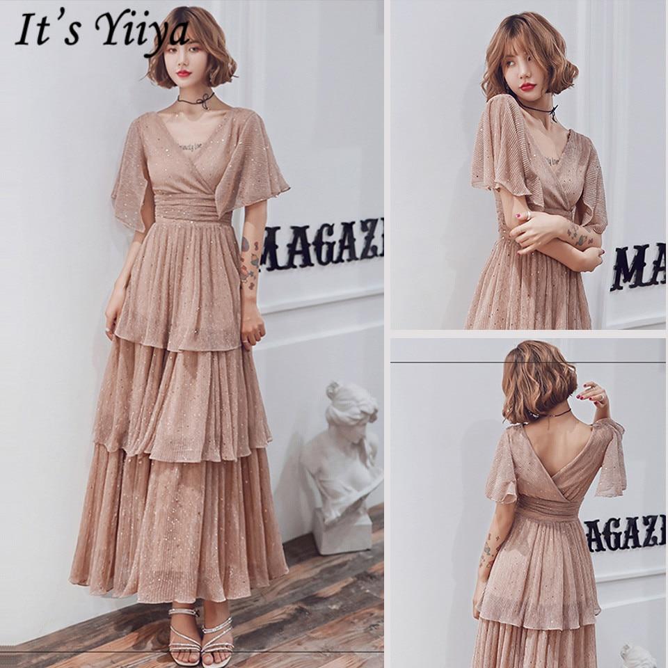 It's Yiiya Prom Dress Vintage Short Sleeve V-Neck Tiered Plus Size Vestidos De Gala LF221 Sequined A-Line Prom Dresses 2019