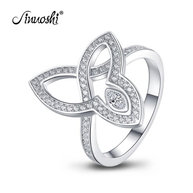 Takı ve Aksesuarları'ten Halkalar'de AINUOSHI 925 Ayar Gümüş Düğün Nişan Üç Yaprak Yüzük Yıldönümü Markiz Kesim Yüzük Gümüş Kadın gelin yüzüğü Takı'da  Grup 1
