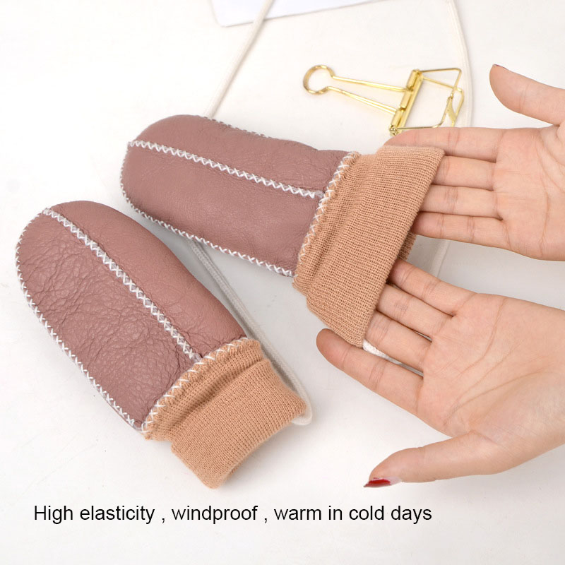 New Girls Warm Mittens for Baby Boys Sheep Fur Manual Warm Gloves Children 39 s Sheepskin Leather Gloves Kids Warm Fur Guantes in Men 39 s Gloves from Apparel Accessories