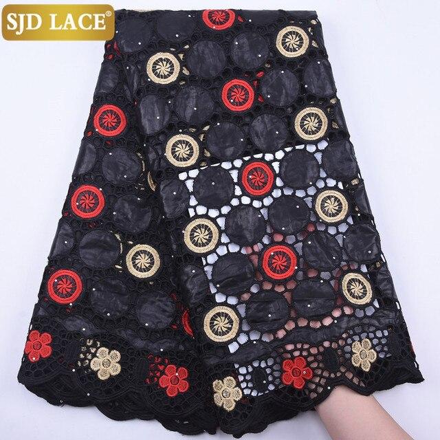 SJD LACE-tissu en dentelle de coton bleu Royal africain, dentelle de Bazin Riche de haute qualité, dentelle nigériane, tissu découpé pour robe de mariage, sa1941