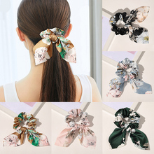 2020 women Bow Knotted Hair Rope Streamer Scrunchies Vintage elastic hair bands Girls Hairband Hair Scarf Hair Accessories
