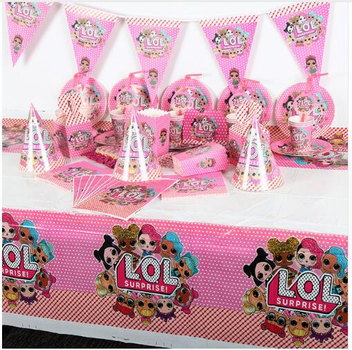 Image 1 - 106Pcs Surprise Dolls Theme Baby Shower Boys Birthday Decoration Wedding Event Party Supplies Various Tableware SetsDisposable Party Tableware   -
