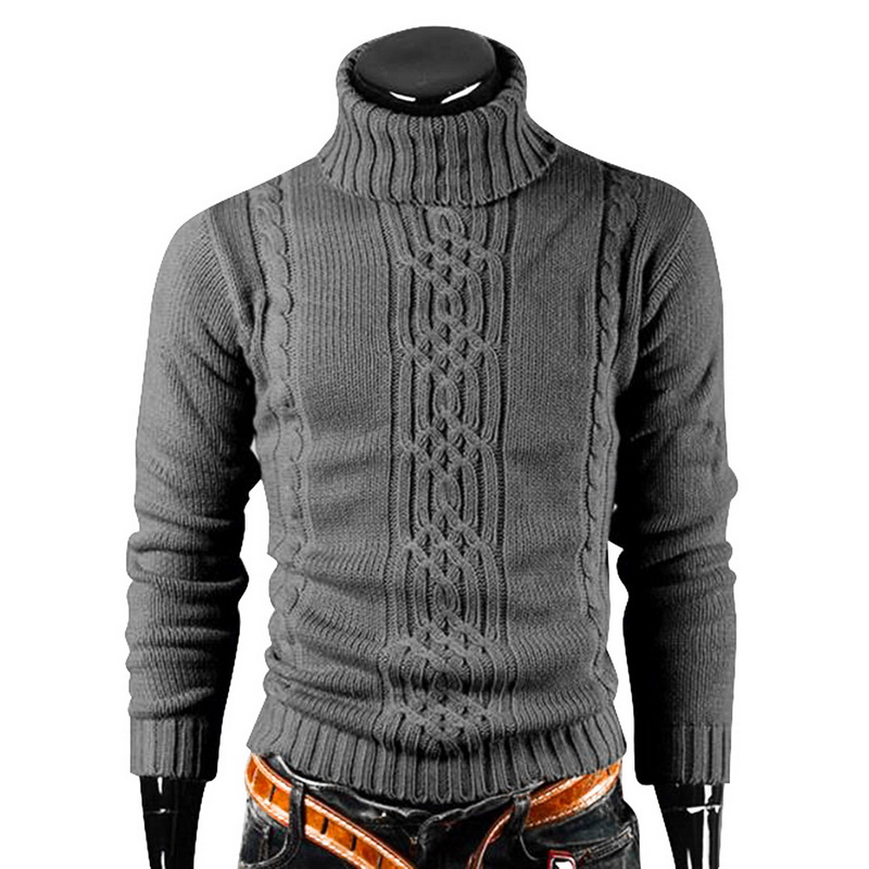 Winter 2019 Turtleneck Sweater Men Vintage Tricot Pull Homme Casual Pullovers Male Outwear Slim Knitted Sweater Solid Jumper