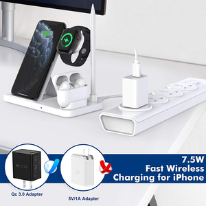 Image 3 - 15W Qi Fast Wireless Charger Stand For iPhone 12 11 XR XS 8 Apple Watch 4 in 1 Foldable Charging Station for Airpods Pro iWatch