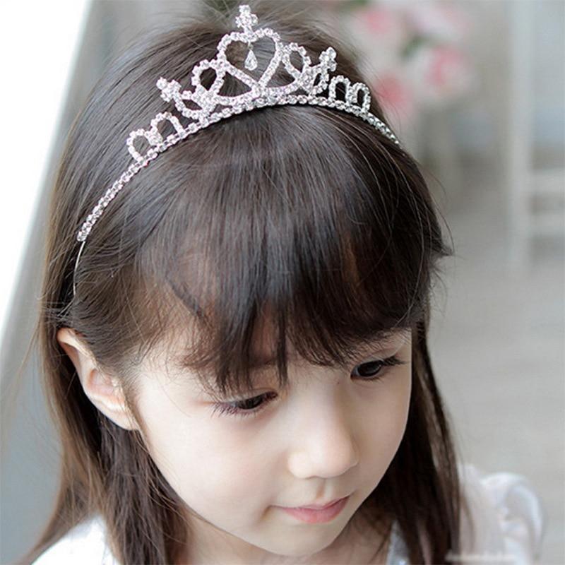 Princess Crown for Girls Birthday Show Gift Hairband Tiara Diadem Silver Plated Crystal Wedding Bridal Hair Head Accessories