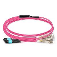 24core MPO LC female Type B fiber optic patchcords 40G round cable OM4 RED color 1M 3M jumper 8 12 24 strand ftth