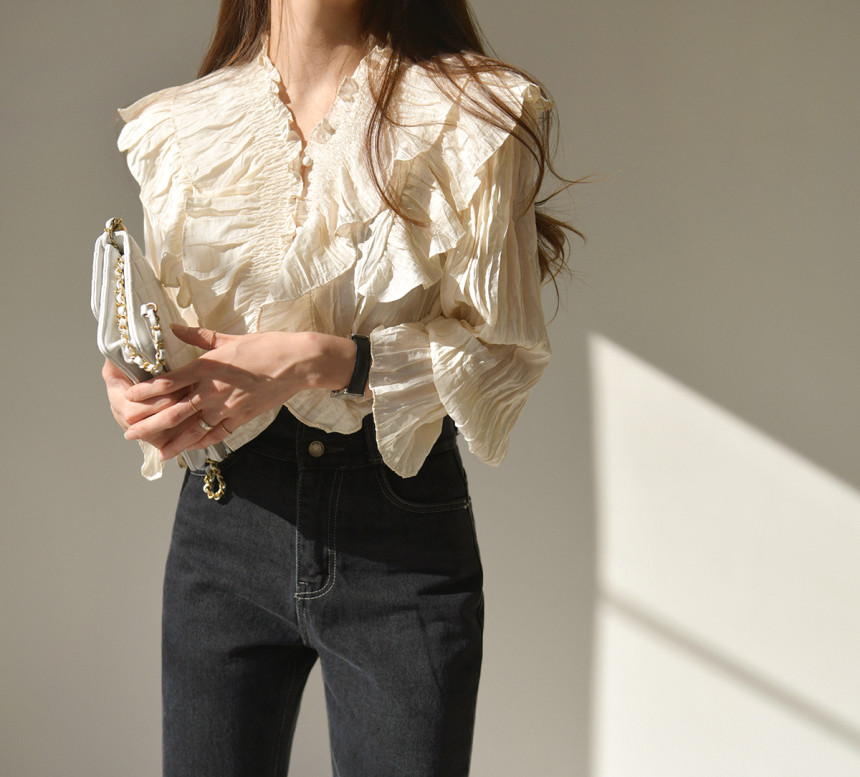 H5a31e31962794203b6fcbfb01fdb28afM - Spring / Autumn V-Neck Long Sleeves Ruffles Pleated Solid Blouse