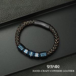 Image 4 - Мужские браслеты с черными цирконами REAMOR, Роскошные браслеты из нержавеющей стали с золотыми бусинами, плетеный браслет ручной работы из натуральной кожи, ювелирные изделия