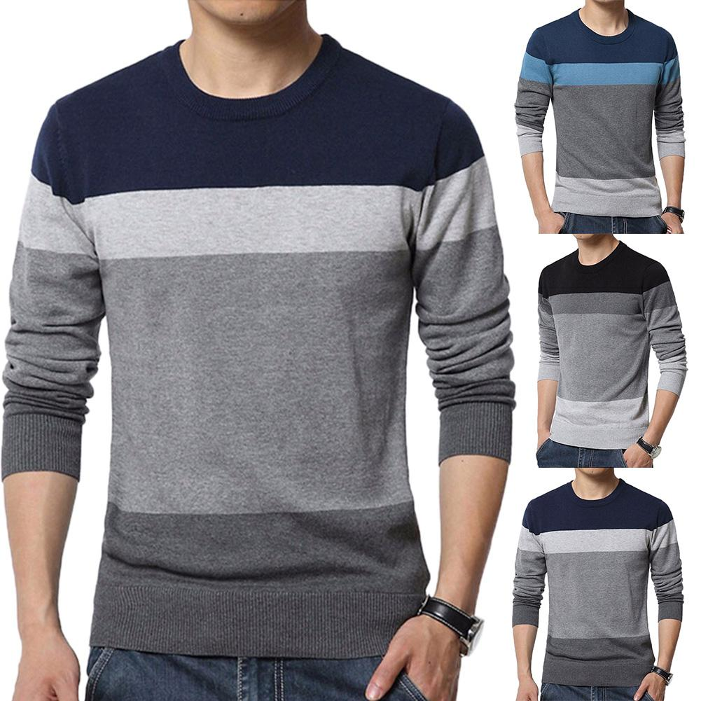 Chic Men Sweaters Color Block O Neck Long Sleeve Pullover Sweaters Men's Blouse Knitted Sweater