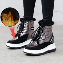 Plus Size 34-43 Fashion 2019 New Winter Women Shoes Lace Up Wool Fur Warm Ankle Boots Snow Boots Shoe Outdoor Non-slip Platforms plus size 34 40 fashion lace wedding shoes white for women handmade bridal shoe comfortable heel platforms brides shoes