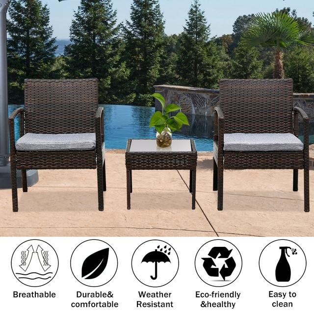 3PC Patio Furniture Wicker Rattan Outdoor Conversation Set  1