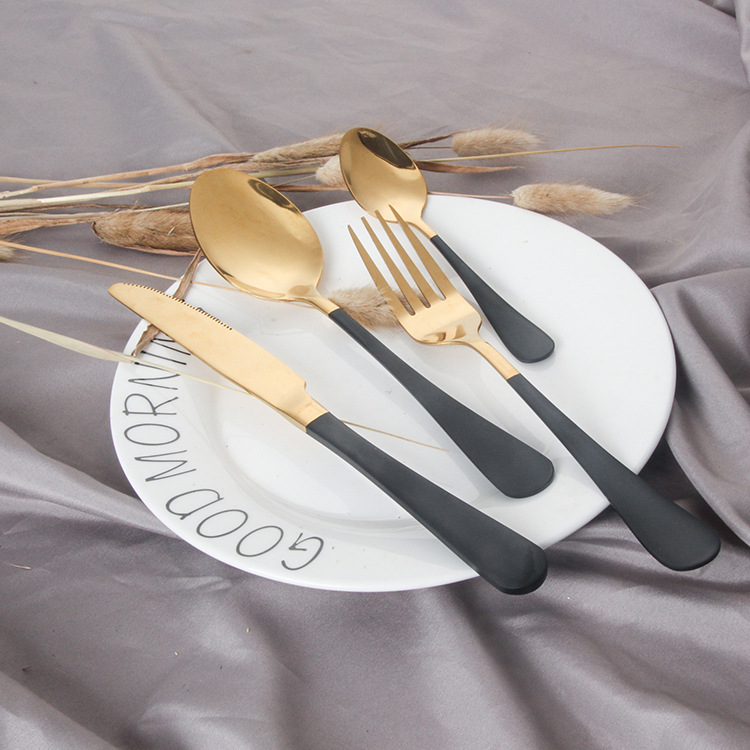 24pcs Cutlery Tableware Service Gold Spoon Forks Knives 304 Stainless Steel Silverware Set Bright Mirror Cutlery Knives Sets