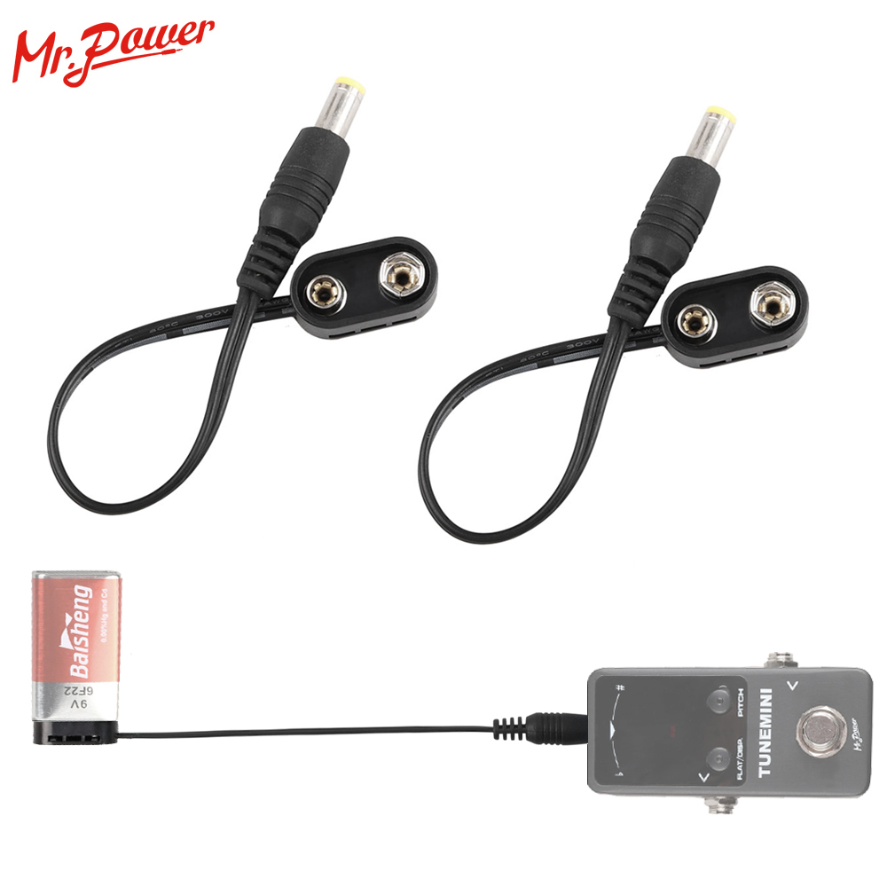2pcs 9V Battery Clip Converter Power Cable Snap Connector 2.1mm 5.5mm Plug For Guitar Effect Pedal Battery Power Supply Adapter