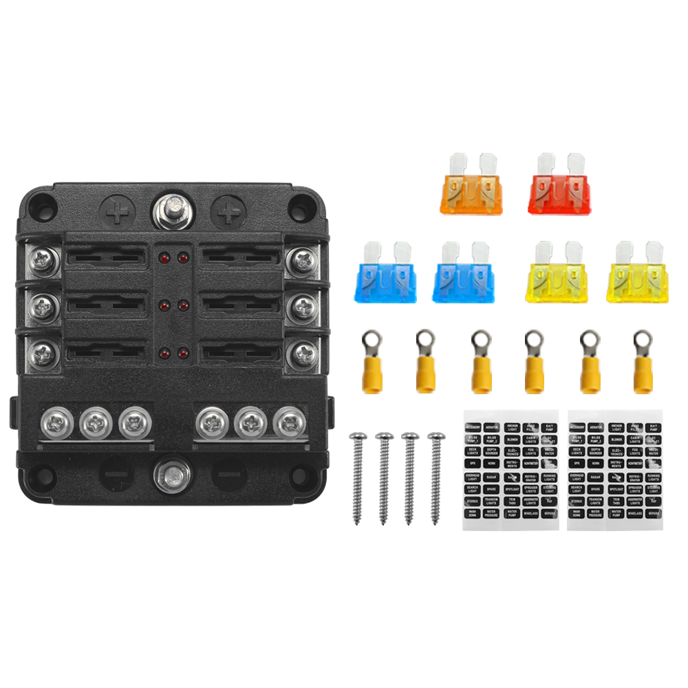 32V Plastics Cover Fuse Box Holder M5 Stud With LED Indicator Light 6 Ways Blade For Auto Car With Fuse Blade Terminals