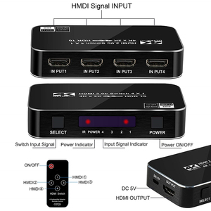 Image 4 - 2020 4 Port 18Gbps HDR 4K HDMI 2.0 Switch 4x1 Support HDCP 2.2 HDMI Switch HUB Box With IR Mini HDMI Switch Remote For PS4 360