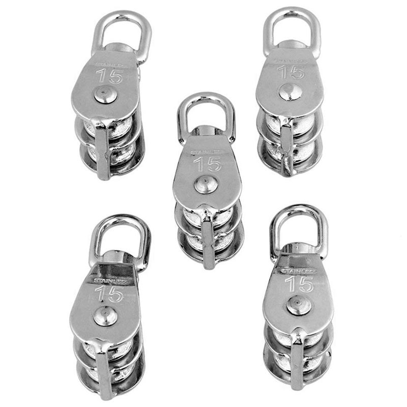 304 Stainless Steel M15 Double Pulley Block For Wire Rope Chain Traction Wheel Set Of 5