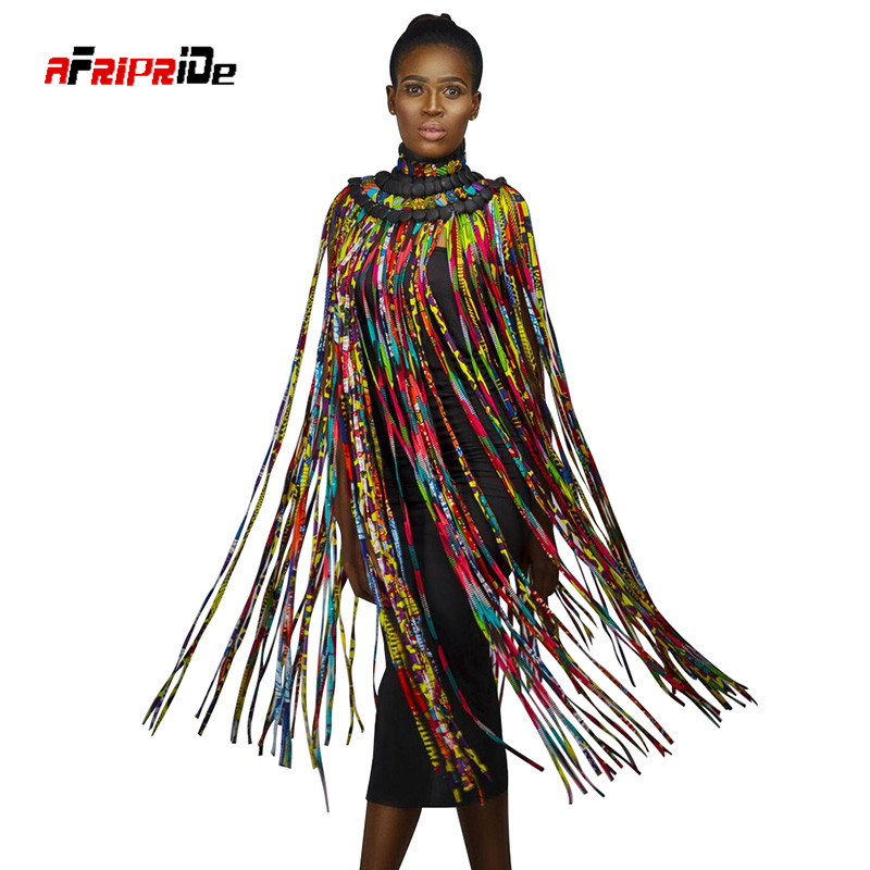 2020 New Trend African Button Handmade Jewelry Skirt African Ankara Necklaces Jewelry Multi Ropes Necklace Shawl Tribal SP017