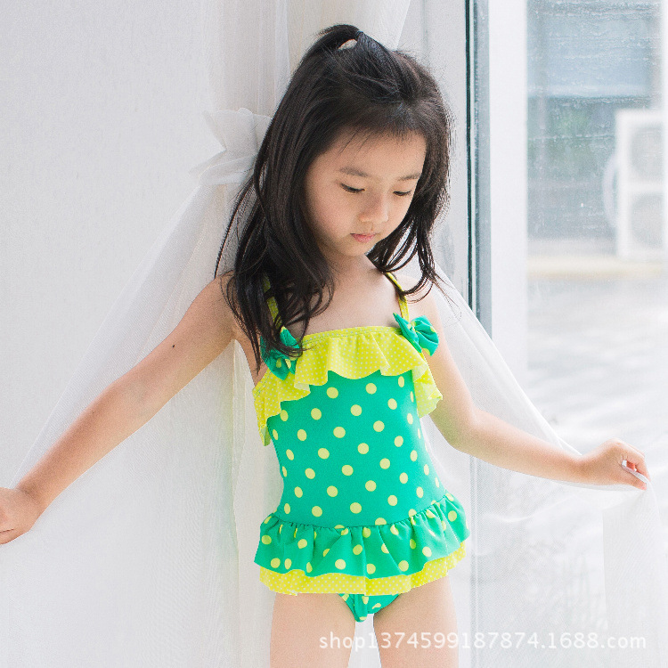 New Style KID'S Swimwear Girls Camisole Fashion Skirt Sun-resistant Small Bow WOMEN'S Swimsuit Small CHILDREN'S Young Children B